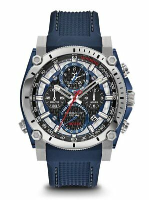 Bulova Men's 98B315 Precisionist Chronograph Blue Rubber Strap 46mm Watch