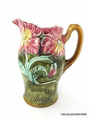 Beautiful Antique French Signed Onnaing Majolica #75 Pitcher Late 19Th Century