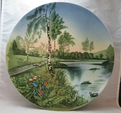 "Vintage Villeroy & Boch Germany 12"" Charger plate. Lady in Park"