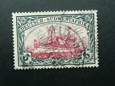 German South West Africa 5 Mark Sailship Stamp - Fine Used - See!