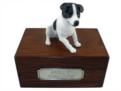 Beautifl Palownia Sm Wooden Personalized Urn Bl/Wht Smooth Jack Russell Figurine