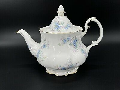 Royal Albert Blue Blossom 6 cups Large Teapot With Hot Plate Bone China Rare
