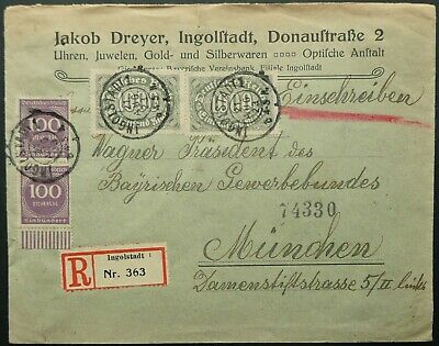 GERMANY 1923 REGISTERED POSTAL COVER WITH 2200m RATE FROM INGOLSTADT TO MUNICH