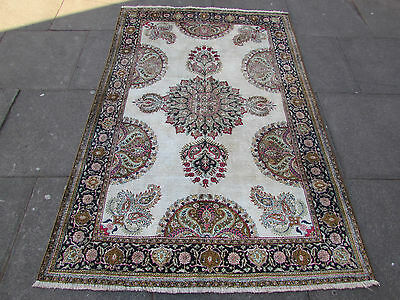 Old Traditional shabby chic Hand Made Persian Cream Silk Oriental Rug 197x130cm