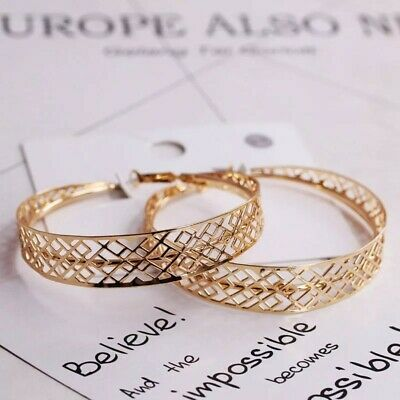 """Fantastic yellow gold plated 2.75"""" laced big round hoop earrings"""