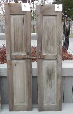Antique ARCHITECTURAL WOOD PANELED SHUTTERS - SALVAGE FARM COUNTRY ( A )