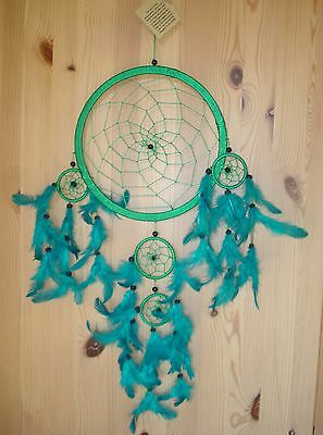 FairTrade Large multiple Lovely Dream Catcher Green w Turquoise Feathers Big NEW