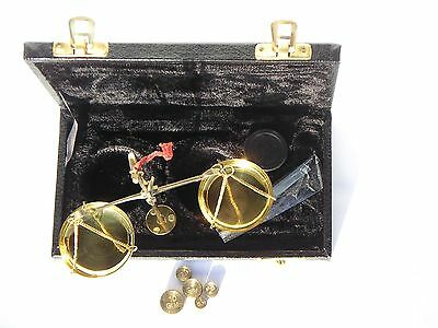 Brass pan jewellery dealer balance Scales in case + weights Hand held or w stand