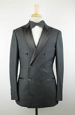 fe5a6fa9141e0d NWT BRUNELLO CUCINELLI Gray Wool Blend Satin Trim DB Tuxedo Suit 48/38 R  $4295