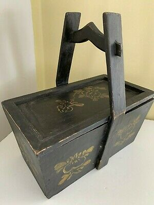 Antique Chinese Handled Wood Wedding Bride Box Lacquer Hand Painted