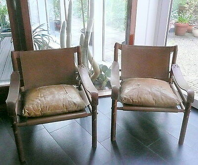 Pair of Leather Sirocco Safari Chairs by Arne Norell, Sweden