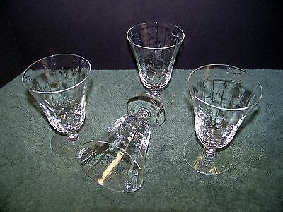 Vintage Parfait Glasses Set of 4 Flower Pattern Glass Panel Stemware ELEGANT