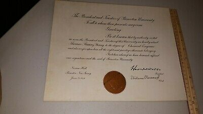 "1938 PRINCETON UNIVERSITY DIPLOMA ""CHEMICAL ENGINEER""  with SEAL & SIGNATURES"