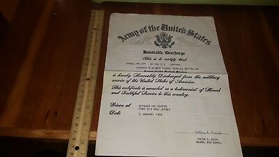 1946 US ARMY HONORABLE DISCHARGE FOUGHT IN NORMANDY 3110th SIGNAL BATTALION NY