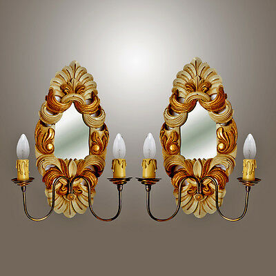 Antique Baroque Pair of Two-light Italian Carved Wood Gilt Mirror Double Sconces
