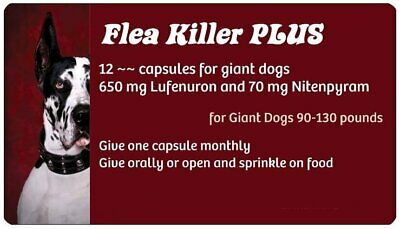 Flea PLUS Pills to Kill Fleas on Dogs from 89-130 pounds ~~ 12 Red Monthly Caps