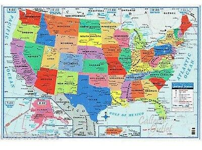 """United States WALL MAPS Poster Size 40"""" X 28"""" USA Classroom Office Free Shipping"""