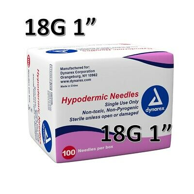 """Dynarex Hypodermic Sterile Needles 100CT ,18G 1"""" FAST FREE SHIPPING O6960"""