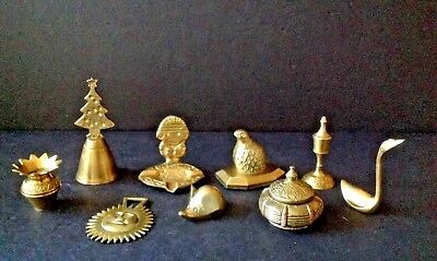 Lot 9 Vtg Small Brass Shaker, Incense Burner, Mouse, Sun, Swan, pot, Shoe, Quail
