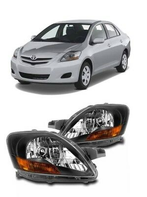 FOR 07-12 TOYOTA YARIS SEDAN 4DR REPLACEMENT BLACK HEADLIGHT LAMP W//BLUE DRL LED