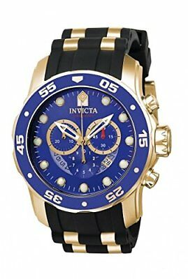 Invicta Men's Pro Diver Scuba Gold Plate Chronograph Blue Dial Black Strap Watch