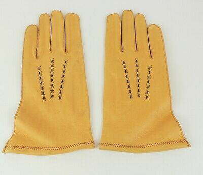 Genuine Deerskin Leather Gloves Mens 10 Wheat Gold Unlined Soft