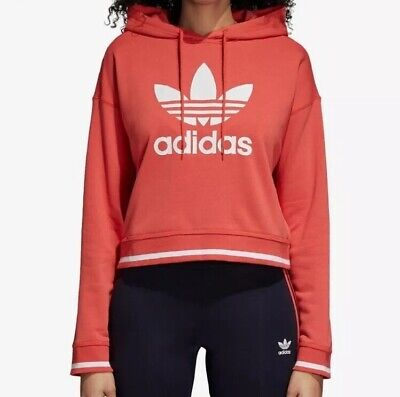 1530674c ADIDAS ORIGINALS TREFOIL NWT Women Active Cropped Hoodie Sweatshirt  Oversized XL