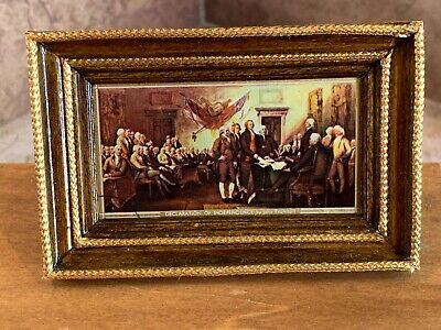 1990 MINIATURE DOLLHOUSE Print of Painting Custom Framed Signing The  Declaration