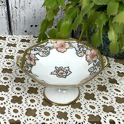 Antique 1920s Nippon China Porcelain Moriage Footed Bowls Bowl Dish Set Nouveau