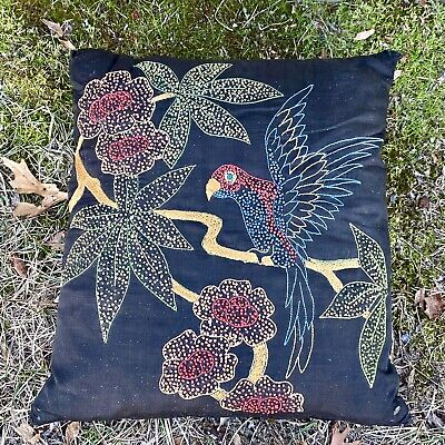 Antique Victorian Era Hand Embroidered Parrot Pillow Throw Needlepoint