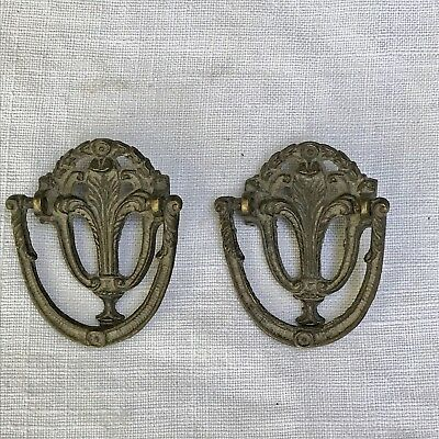 Antique Drawer Pulls Victorian Ornate Replacement Pair 19thC #11