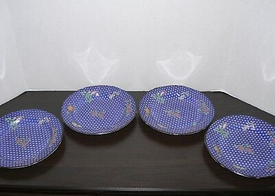 Mottahedeh Camilla England salad plate lot of 4 blue butterfly flowers 8 1/2""