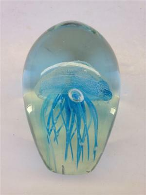 Blue Jelly Fish Glow in the Dark Art Glass Paperweight