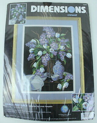 Dimensions Lilacs and Lace Crewel Embroidery Kit 1529 12 x 16