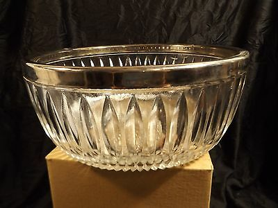 Vintage Clear Pressed Glass Large Serving Bowl with Silver Plated/Chrome Rim