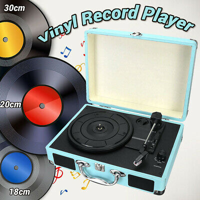 Vintage Vinyl LP Record Player Stereo Turntable 3Speed 2 Speakers Radio Recorder