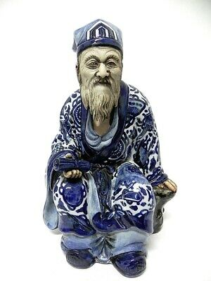 VINTAGE PORCELAIN Statue CHINESE MALE FIGURINE Hand Painted