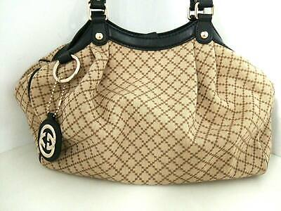 8cd83be9a Auth GUCCI Diamante/Sukey 211944 Beige Brown Black Jacquard & Leather Tote  Bag