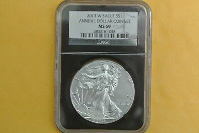2013-W Burnished Silver Eagle PCGS MS69 UNC (2013 Annual Dollar Set) Toning