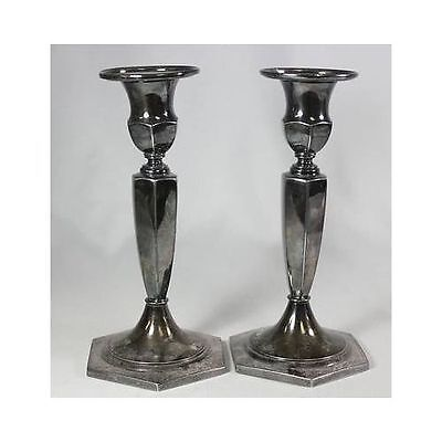 Pair Vintage INTERNATIONAL SILVER Co. WILCOX Silver Hexagon Candlestick Holders