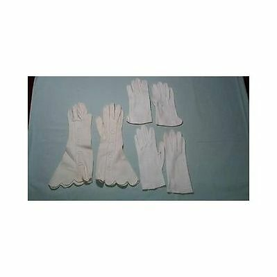 Set of Three Vintage Ladies Embroidered Cloth Gloves Varying Lengths w/case