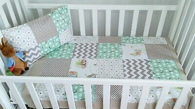"""New Unisex Patchwork """"Peter Rabbit"""" theme  Cot Quilt set -Mint, Taupe and White"""