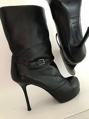 20207bc0 YVES SAINT LAURENT Black Embossed Patent Leather Tribtoo Boots Size ...