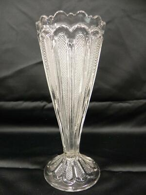 Vintage Eapg Pattern Glass Tall Celery Footed Vase Scalloped Top Texas Pattern