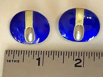 Vtg Antique Deco~925 SI~Vermeil Cobalt Guilloche Enamel Filigree Pearls Earrings