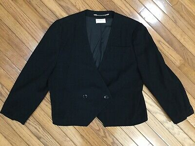 Vintage Givenchy En Plus Women's Black Shearing Wool Jacket Blazer Size 16W