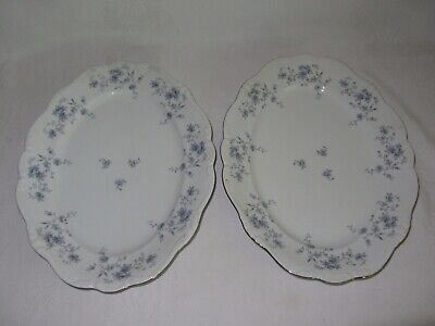 2 Johann Haviland Blue Garland Vintage Oval Serving Platters Bavaria Germany