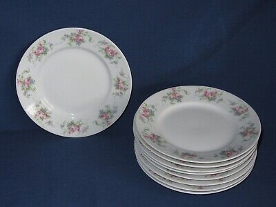 9 Bread Side Plates Limoges Wm Guerin & Co Vintage Rose Violets Flowers 6""