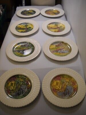 SET OF 8 Royal CAULDON China DINNER PLATES 4 Different Painted SCENES English