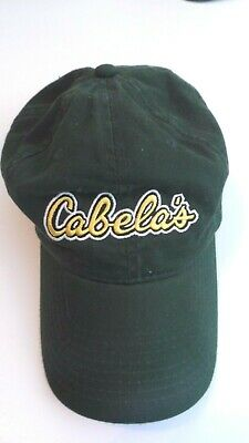 50ed55bd4 CABELAS BASEBALL CAP Green Adjustable Hat Embroidered Yellow Logo Strap back